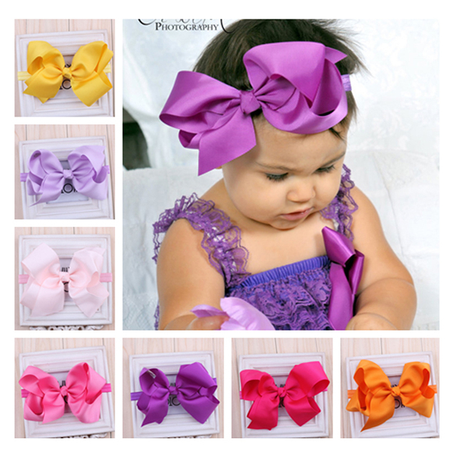 TWDVS Newborn Headwear Big Bows  Flower Headband  Hair Elastic Bow Headbands Hair band kids Children Hair Accessories W--017