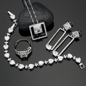 Square 925 Silver Jewelry Sets