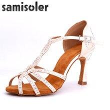 Samisoler/Женская обувь для латинских танцев; блестящая атласная