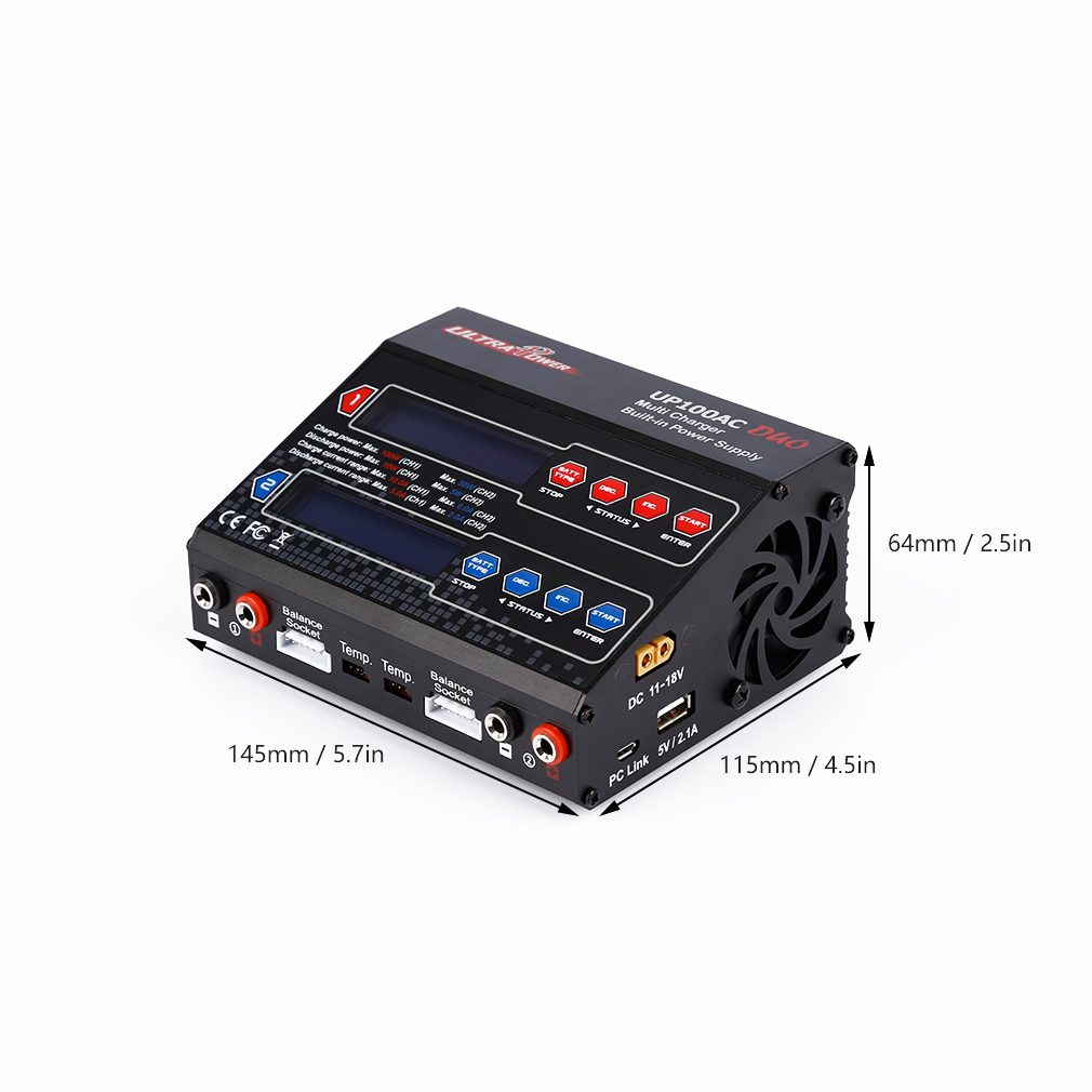 Dual 2 Port 100Watt 10/6Amp AC DC Balancing Battery Charger LiPo UP100AC New 10x 5w watt 2r2 2 2 ohm 5