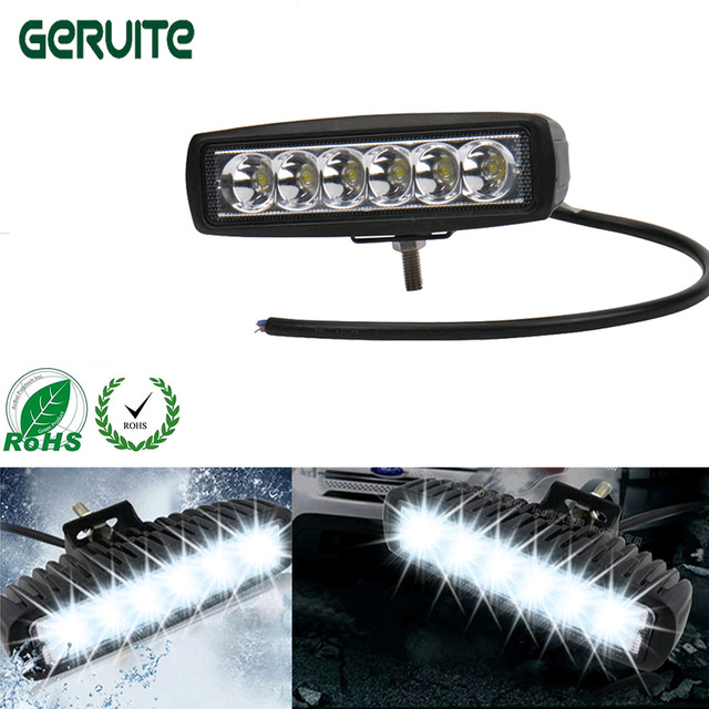 6 inch 18W 12V LED Daytime Running Light LED Work Light Bar for Motorcycle Offroad Tractor Truck Work Lamp Driving LED Lights