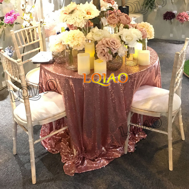 120 Round Sparkly Rose Gold Sequin Table Cloth Cake Tablecloth