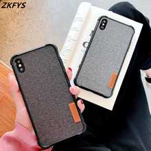 Fashion Cloth Silicone Shockproof Cover For iPhone 8 7 Plus 6 6s Phone Case X Xs Max XR Retro Canvas Fabric