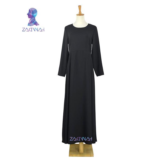 Ajuste de La Moda de manga larga negro largo dresss Zakiyyah musulmán mujeres Islámicas ropa últimas abaya turco mujeres ropa