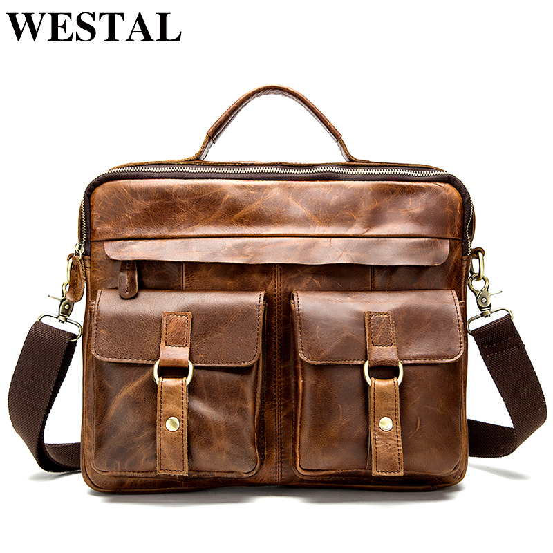 WESTAL Messenger Bag men s genuine leather men shoulder bag Casual Male briefcases laptop Crossbody bags
