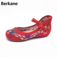 Zapatos de Tela Bordado de Las Mujeres de Mary Jane Pisos Bordado Tradicional chino Viejo de Pekín Flor Lienzo Ocasional de Gran Tamaño Caliente 43