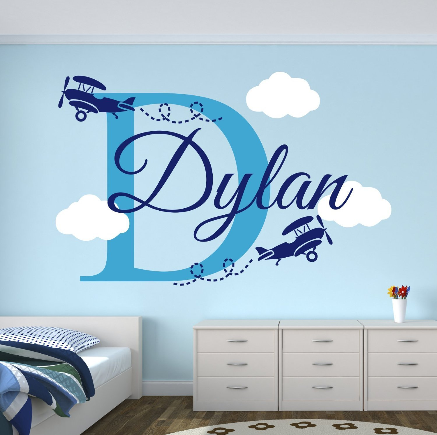 Custom boys name airplane clouds decal nursery decor kids for Wall decals kids room