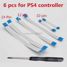 6 Pcs untuk Sony DualShock 4 PS4 Pro Controller 12 PIN 14pin Pengisian Papan Power Switch Kabel 10pin Touch Pad fleksibel Kabel Pita(China)