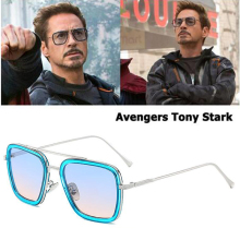 Fashion Avengers Tony Stark Flight 11 Style Sunglasses Men Square Aviation Brand Design Sun Glasses Oculos De Sol