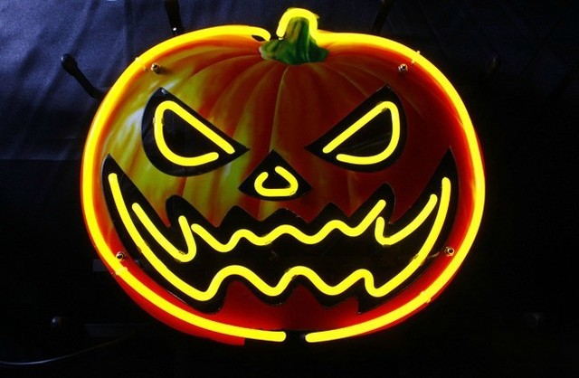 Halloween pumpkin head bar neon art glass sign lights jack o halloween pumpkin head bar neon art glass sign lights jack o lanterns wall hanging aloadofball Gallery