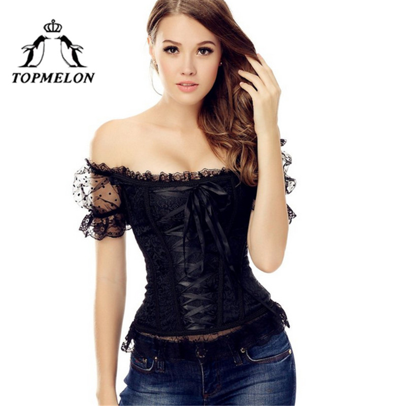 TOPMELON   Corset   Steampunk   Bustier   Gothic Corselet   Corset   Women Slimming Shpers Off Shoulder Floral Party Wedding   Corset   Tops