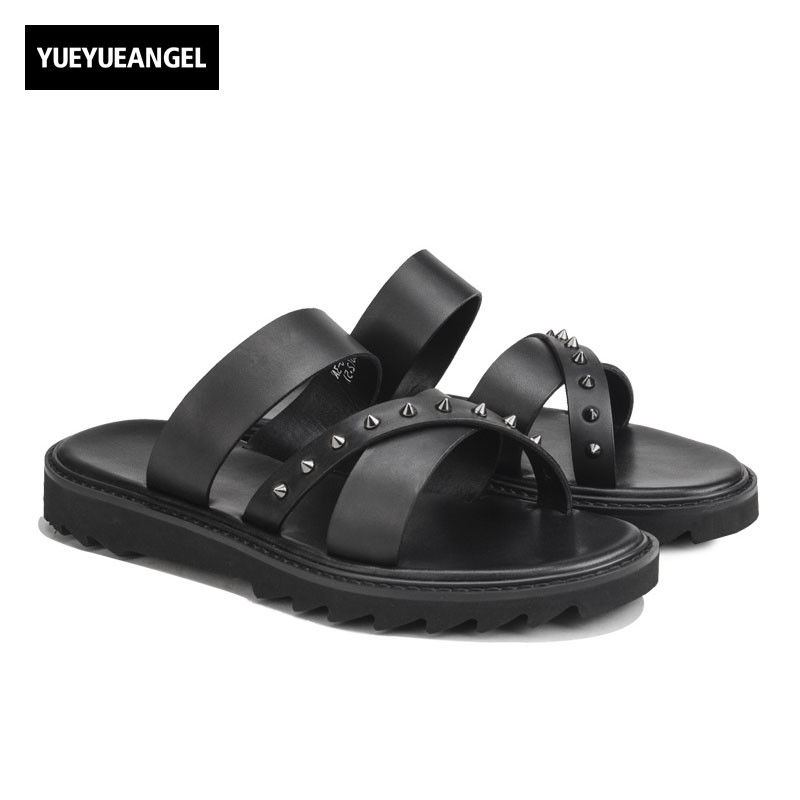 Fashion Summer Men Luxury Genuine Leather Slippers Casual Platform Rivet Straps Beach Slippers Rome Outside Male Shoes Slides blai hilton 2018 new arrival summer fashion slides slippers men shoes casual outside breathable comfortable beach slippers