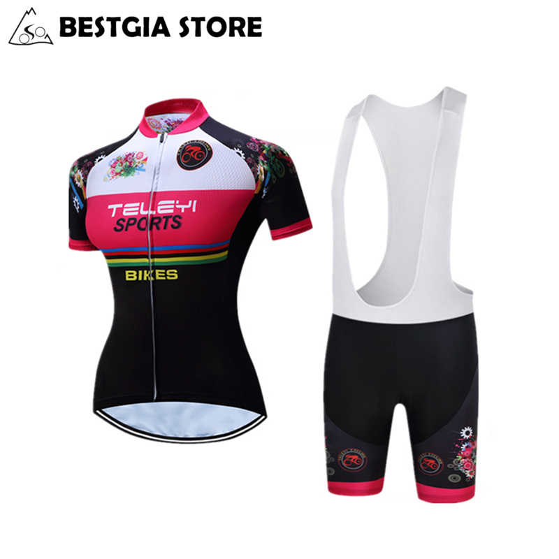 50be09076 Race Cut Women Cycling Jersey Sets Polyester Riding Bike Jerseys Road Track  Aero Bicycle Breathable Short