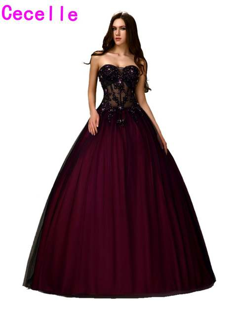 Online Shop Sexy Black Burgundy Two Tones Long Ball Gown Prom Dresses  Princess Sweetheart Beaded Lace Sheer Bodice Prom Gowns Custom Made  9a81bcaa3774