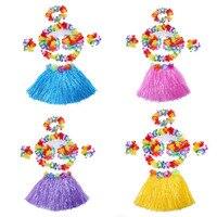 Girls Boys Colorful Hula Wristbands Garland Headband Hawaiian Grass 40cm Skirt Bra Scarf Ring Fancy Dress Party Decoration