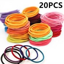 20pcs/bag Diameter 3.5CM Elastics Rubber Bands Holder Rubber Elastic Accessories Girl Women Tie Gum Scrunchie Candy Color