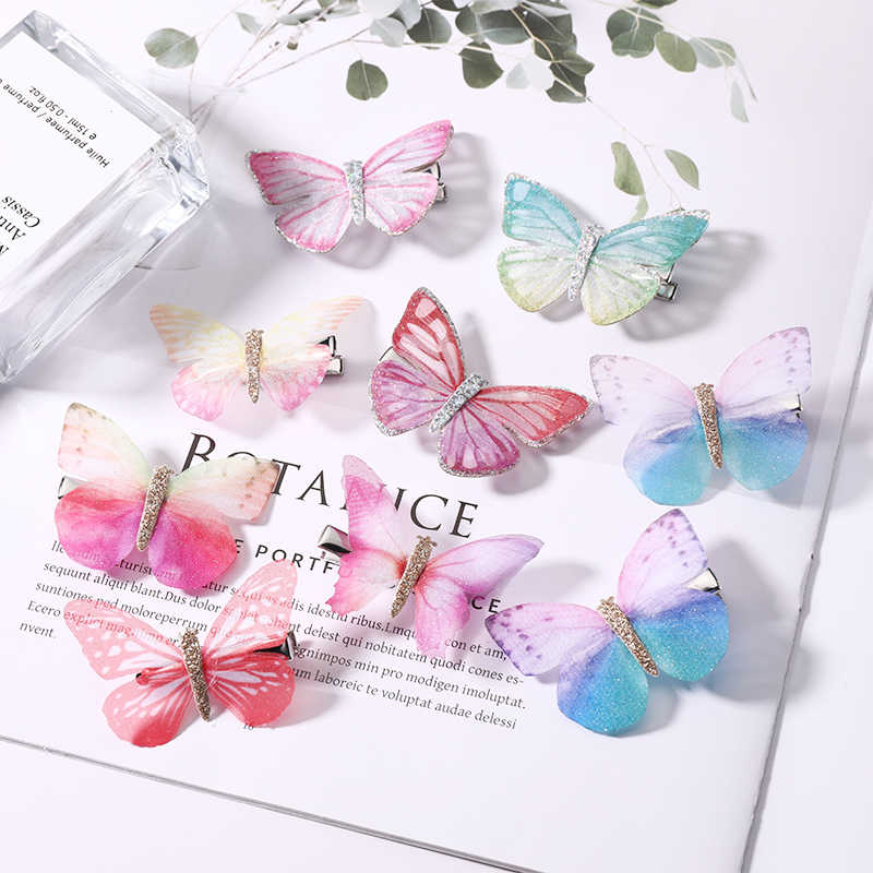 2PCS/Set Girls Colorful Dream Butterfly Cartoon Hairpin Children Fashion Hair Clips For Hair Barrettes Headband Hair Accessories
