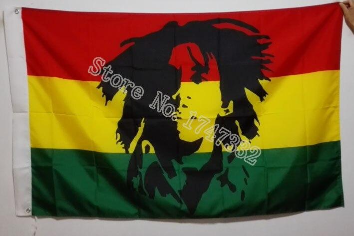 Bob Marley Jamaïque Rasta Drapeau vente chaude marchandises 3X5FT 150X90 CM Bannière en laiton métal trous