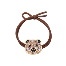 CHIMERA Cute Hair Rope Rhinestone Cartoon Pig Double Layer Ring Ties for Women Girls Elastic Ponytail Holder Bands