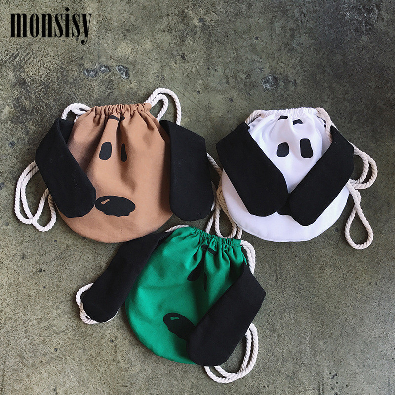 Monsisy Kawaii Girl Canvas Dog Bag Drawstring Shopping School Books Travel  Children Backpack For Kid Boy Double Shoulder Bag 65bcc2db40425