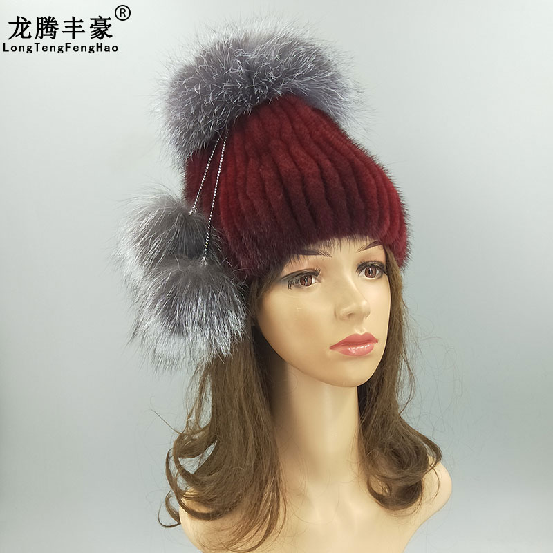 Warm Real Mink Fur Women 39 s Cap Fashion Stripe Hat With Genuine Fox Fur Ball Pompom Female Winter Real Fur Caps Knitting Mink Hat in Women 39 s Skullies amp Beanies from Apparel Accessories