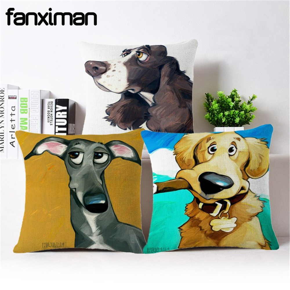 Fanximan Home Decorative Cushion Cover Bulldog Dachshund Greyhound Schnauzer Cushion Case For Sofa Throw Pillow Covers 45*45 CM