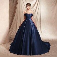Navy Blue Evening Dresses 2019 Vestidos De Fiesta Largos Elegantes Galaabiti da cerimonia sera Prom Ball Gown