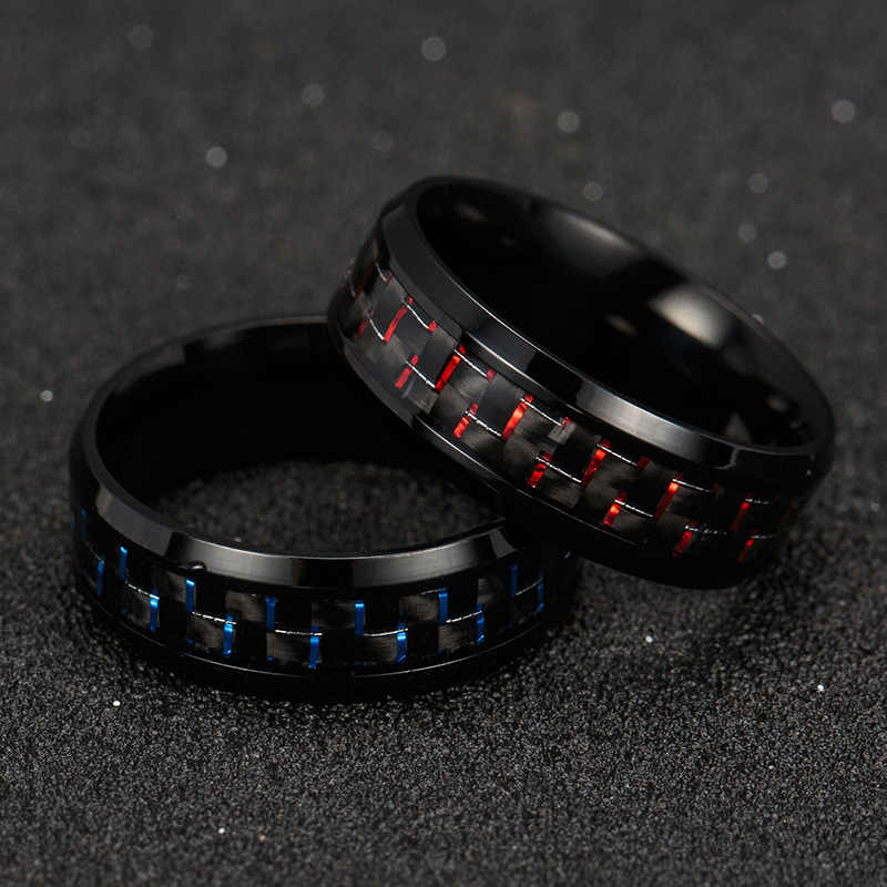 Fashion Titanium Steel Carbon Fiber Ring for Men Blue Red Square Carbon Fiber Ring Men's Cool Ring Fashion Jewelry