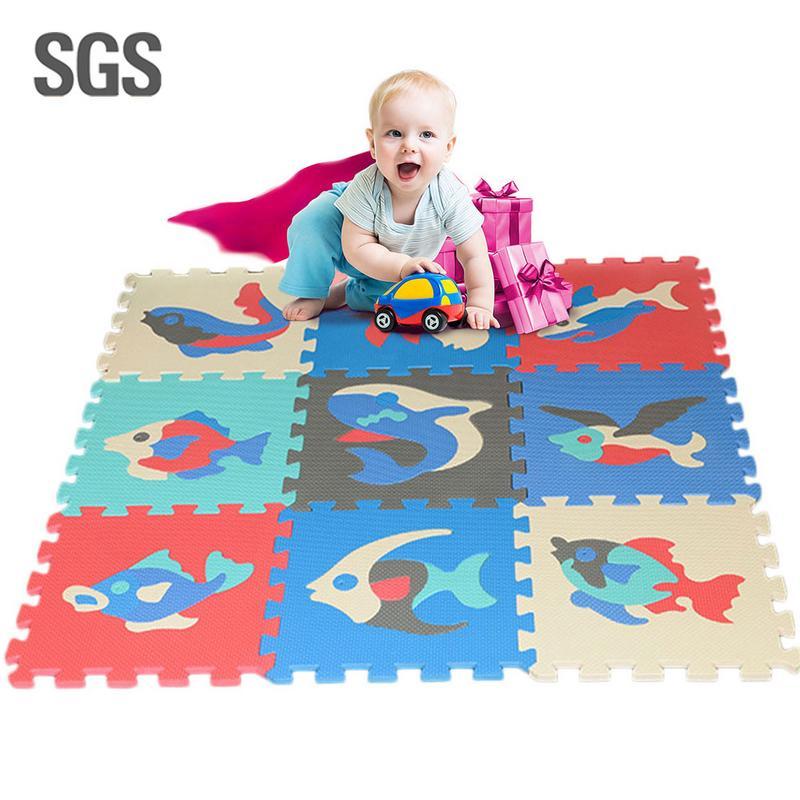 9 pcs/set Ocean Pattern Foam Puzzle Kids Rug Carpet Split Joint EVA Baby Play Mat Indoor Soft Activity Puzzle Mats