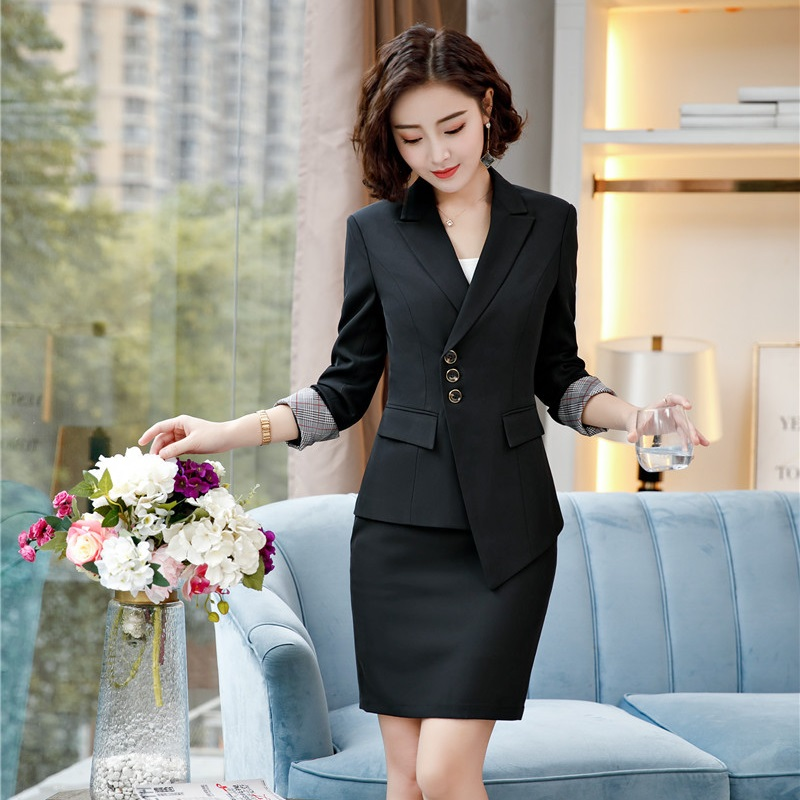 2018 Autumn Winter Women Business Suits With Skirt And Tops For Office Ladies Blazers Jackets Uniforms Irregular Blazers Sets