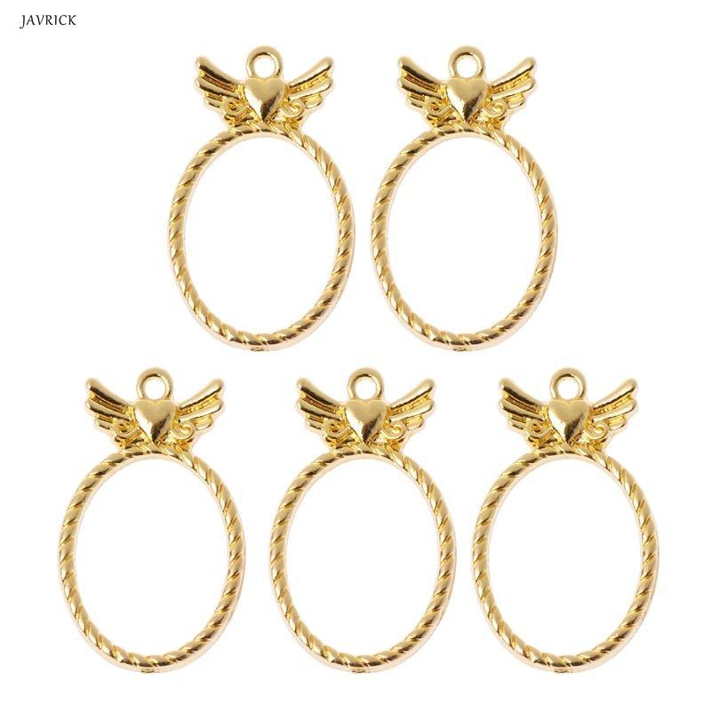 5Pcs Wings Pocket Watch UV Frame Pendant Bezel Cabochon Setting UV Resin Charm Jewelry Accessories