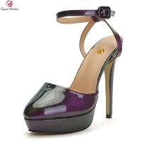 Original Intention Sexy Women Sandals Platform Round Toe Thin High Heels Sandals Ladies Purple Shoes Woman Plus US Size 4 15