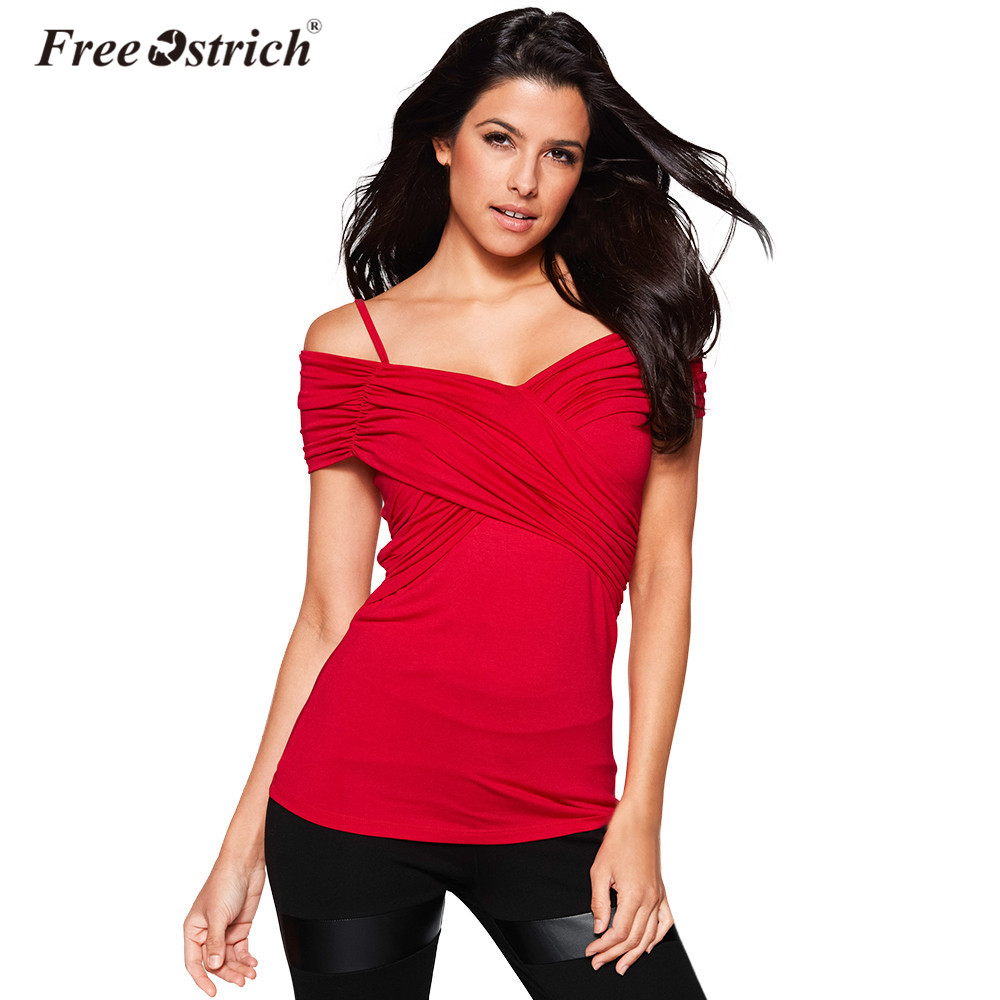 Free Ostrich T-Shirts Women V Neck Short Sleeve Tees Elegant Ladies Female 2018 Spring Solid Off Shoulder Jumper Tops A2630