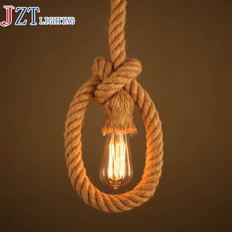 T 2pcs LOFT American Country Style Pendant Light Artistical Creative Lamps For Bar&Coffee Shop&Restaurant E27 Bulb Hemp Rope image