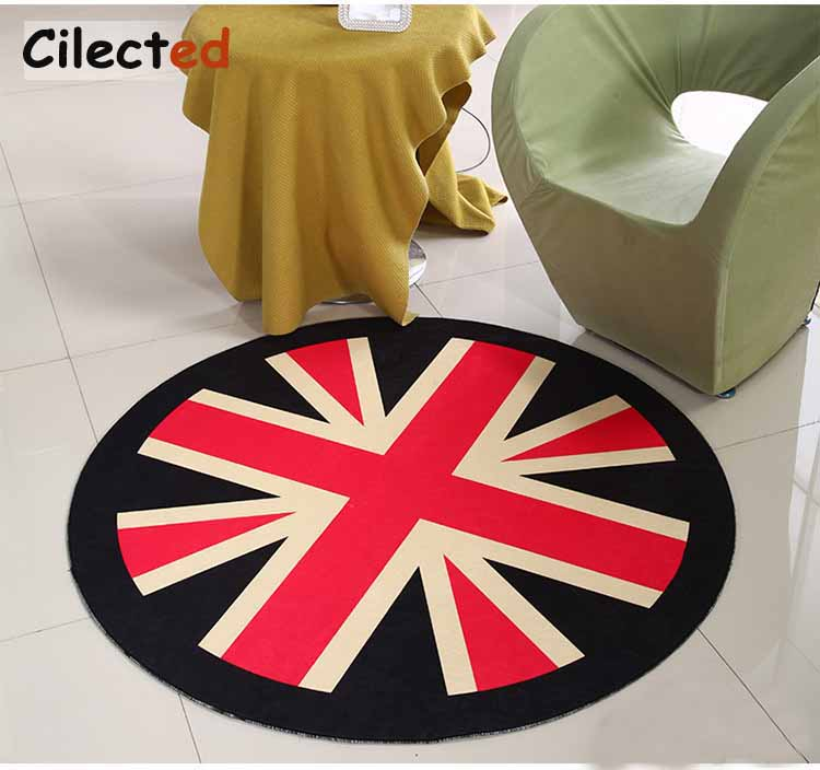 Delightful Cilected British Flag Round Carpet Cartoon Living Room Playing Mats  Non Slip Nonwoven Bedroom Area