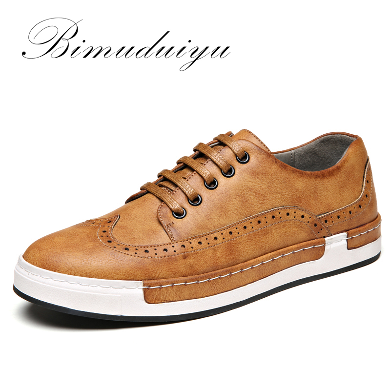 BIMUDUIYU Luxury Brand Leather Shoes Flats Sneakers PU leather Bullock Men Casual Shoes British Lace-Up Oxford Shoes For Men pu leather panel lace up flare coat