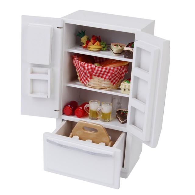Holz 1/12 Dollhouse Miniature Möbel Kühlschrank Kühlschrank Pretend ...