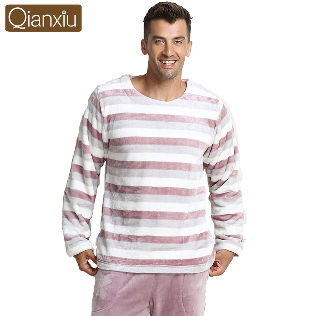 Qianxiu moda tecido macio listras clássicas de manga comprida calças de pijama conjunto para homens mulheres casais amantes homewear pijamas