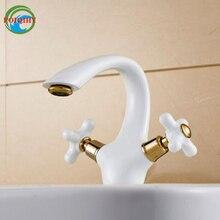 Ласковые красивый белый Цвет раковиной, ванная комната смеситель двойной крест ручки горячей и холодной бассейна кран