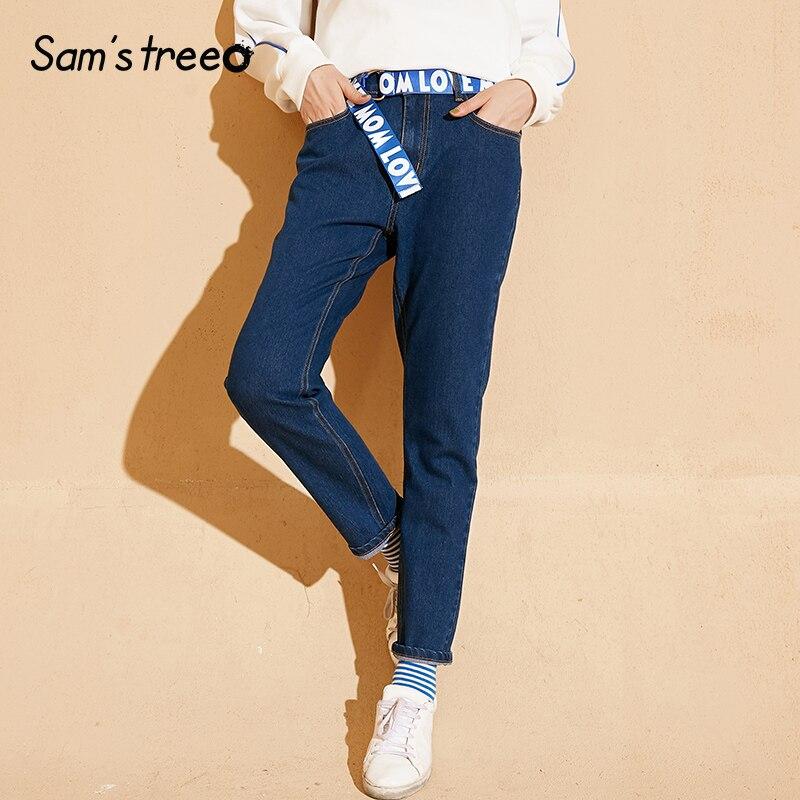 Samstree Spring Autumn Women Jeans Detachable Waist Belt Female Pants Letter Print Straight Office Lady Trousers