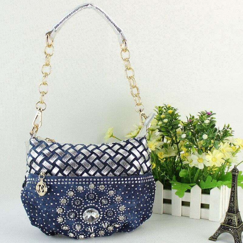 где купить Denim + PU leather women's handbag ladies shoulder bag female fashion cowboy packet bolsa feminina small pouch for girls 2017 по лучшей цене