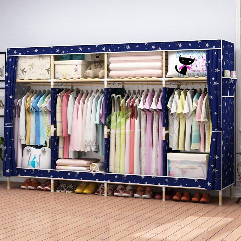 Oxford Fabric Solid Wood Wardrobe Storage Cabinet Simple Modern Economy Wardrobe assembly Cloth Wardrobe
