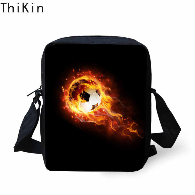 THIKIN Fire Soccer с принтом для мальчиков, сумка-мессенджер, мини-сумка через плечо для детей, школьная сумка для подростков, сумка на плечо