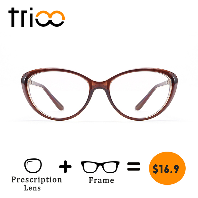 4eb15b258a TRIOO Fashion Cat Eye Women Prescription Glasses Gold Temple Eyewear Myopia Diopter  Eye Glasses Clear Lens Degrees Spectacle