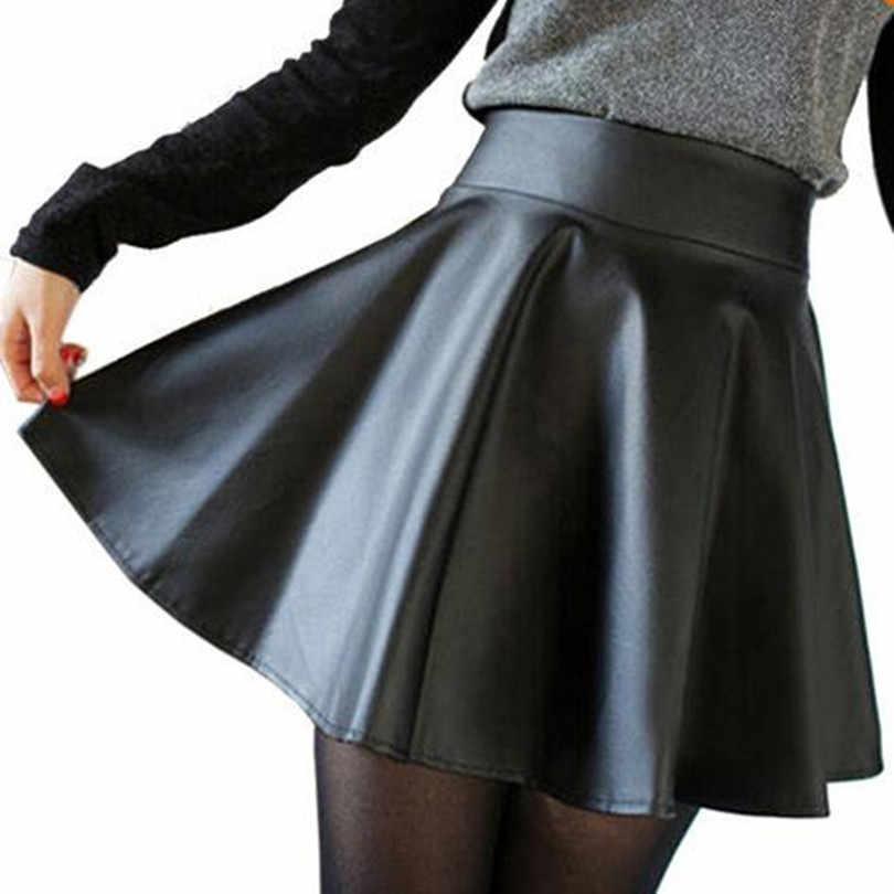 Envío gratuito Nuevo 2018 Rusia moda poliéster cuero artificial Falda Mujer  Vintage alta cintura plisada falda eb48956c4040