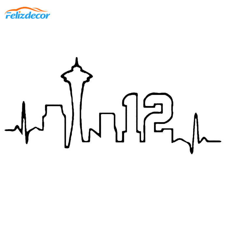 15 cm Seattle Hartslag Decal Art Vinyl Auto Stickers 12th Man Pacific Northwest Stickers Bumper Waterdichte Auto Deur Decor L428