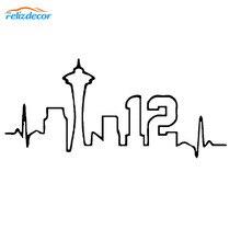 Batimentos Cardíacos 15 centímetros Seattle Pacific Northwest 12th Man Arte Do Decalque de Vinil Adesivos de Carro Adesivos Adesivos À Prova D' Água Porta Do Carro Decoração L428