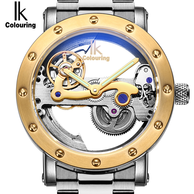 IK Colouring Original Male Wrist Watch Automatic Mechanical Skeleton Transparent Brand Men Watch Stainless Steel Montre HommeIK Colouring Original Male Wrist Watch Automatic Mechanical Skeleton Transparent Brand Men Watch Stainless Steel Montre Homme