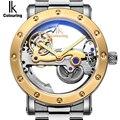 IK coloring оригинальные мужские наручные часы автоматические механические часы со скелетом прозрачные Брендовые мужские часы из нержавеющей с...