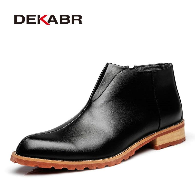 DEKABR Men Boots Fashion High Quality Comfortable Ankle Boots Casual Autumn Genuine Leather Boots Men Flat Shoes Business Shoes